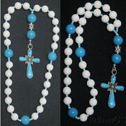 Anglican Episcopal Rosary White Jade Turquoise And Sterling Silver, Rare, Unique