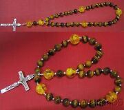 Anglican Episcopal Rosary Rosenkranz Tiger Eye, Sterling Silver And Amber