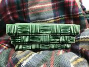 McCoy Pottery Vintage Green Basketweave Planter Container Rare size