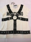 Aw17 Moschino Couture Jeremy Scott White T-shirt With Black Harness Print Tee