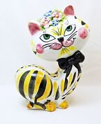 Vintage Italian Art Pottery Hand Painted Whimsical Cat Bank-Signed