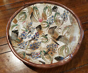 Mid Century Modern Signed Large Pottery Bowl, Grape or Olive Theme