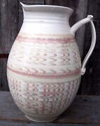 VINTAGE HANDCRAFTED ART POTTERY PITCHER HOME & GARDEN PINK BLUE KITCHEN VESSEL