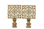 Solid Brass Square Filigree Lamp Finials - A Pair
