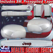 For 2007-2016 Jeep Compass Chrome Door Handle Covers+mirrors+tailgate W/ Logo
