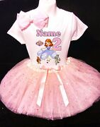 Sofia The First --with Name-- 2nd Birthday Dress Pink Party Tutu Outfit