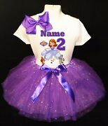 Sofia The First --with Name-- 2nd Birthday Dress Purple Party Tutu Outfit