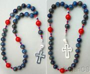 Anglican Episcopal Rosary Denim Lapis And Coral Beads Sterling Silver Cross