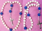 Anglican Episcopal Rosary Pearl And Chalcedony Beads W Sterling Silver Cross