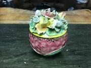 Vintage Ceramic Jar with Ceramic flower lid hand painted in Italy 1974