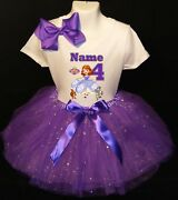 Sofia The First --with Name-- 4th Birthday Dress Shirt 2pc Purple Tutu Outfit