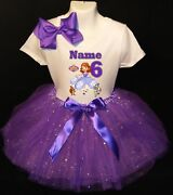 Sofia The First --with Name-- 6th Birthday Dress Shirt 2pc Purple Tutu Outfit