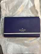 Kate Spade Mikas Pond Leather Travel Wallet Clutch Blue Christmas Gift
