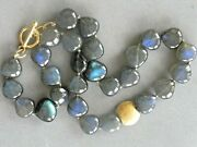 Labradorite 18k 750 Yellow Gold Toggle Clasp 14.5 Mm X 14 Mm Beads 18 Necklace