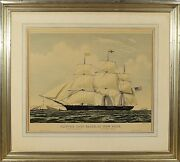 Currier And Ives Lithograph Print Hand Colored Clipper Ship Race Of New York