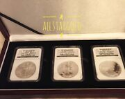 2006 Silver Eagle 20th Anniversary 3 Coin Set Ngc Ms-69 Black Label