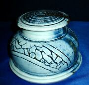 Unique Handmade Ceramic Clay Jar Blue Glaze Spiral Top Signed By Artist