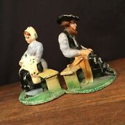 Vintage Bookends Amish Cast Iron Figures Man Woman Original Paint Priority Mail