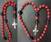Mini Anglican Episcopal Rosary Coral And Goldstone Beads W Sterling Silver Cross