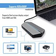 Zforce All In One Travel Dock Type-c Adapter Hub Usb 1080p Vga Hdmi 3.5mm Audio