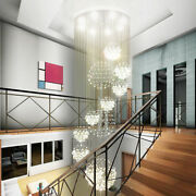 Customized Spiral Led Crystal Ceiling Lamp Chandelier Lobby Pendant Light Stair