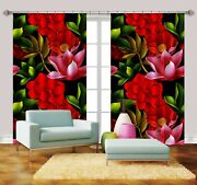 3d Red Flower Leaf 7 Blockout Photo Print Curtains Drapes Fabric Window Us Carly