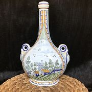 """French Faience Art Pottery Bottle 2 Heads Hand Painted Quimper Style France 13"""""""