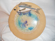 Hand crafted Fish plate SIGNED POTTERY sculpture FISH  PLATE  FOLK ART