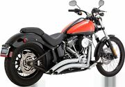 Vance And Hines Big Radius Chrome Scalloped Motorcycle Exhaust 86-16 Harley Fxst