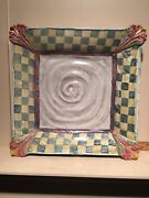 """Rare MacKenzie Childs Pottery Evervolving 12"""" Square Serving Tray or Platter"""