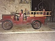 Fire Truck Huge Wood And Metal With Fireman And Ladders Antique Vintage