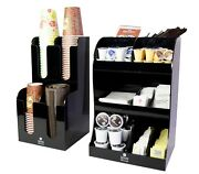 Jenx 2 Piece Acrylic Coffee Condiment And Accessories Organizer For Coffee Shop