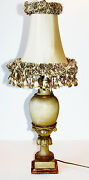 Antique Italian Handcarved Wood Florentine Table Lamp Italy Tole Florence Europe