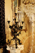 French Wrought Iron Table Chandelier Candelabra 1900s Paris France Chateau Lamp