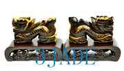 2 Natural Tiger's Eye Gemstone Dragon Figurines / Statues / Carving