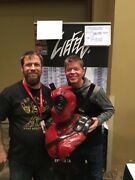 Deadpool Bust Chainsaw Carving Wood Statue Signed By Creators