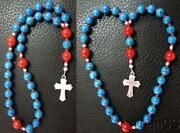Mini Anglican Rosary Turquoise And Coral Beads W Sterling Silver Cross
