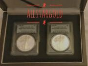 2006-w 2 Coin Silver American Eagle Pcgs Proof-69 And Proof-70 20th Anniversary
