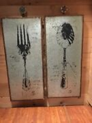 New 2 Vintage Metal Tin W Wood Spoon And Fork Utensil Wall Art Decor 31h X13w