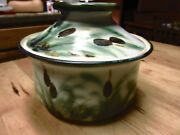 Clouds Folsom Studio Pottery * California * CATTAIL * COVERED BOWL 1990