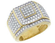 Mens 10k Yellow Gold Square Frame Puff Real Diamond Statement Pinky Ring 2ct