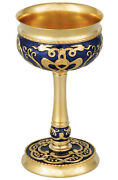 Russian Silver 925 And 24k Gold Plated Wine Chalice Enamel Small Bird Filigree