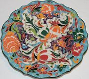 "Turkish Purple & Blue 7""  Iznik Tulip & Floral Pattern Handmade Ceramic Plate"