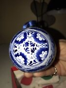 Vintage Delft Holland Hand Painted Porcelain Christmas Ornament Ball