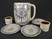 6 piece lot BBP Beaumont Brothers Pottery Glazed Mug Plates crock ROOSTER CHICKS