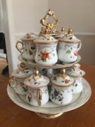 Tiny French Porcelain Hand-Painted Pot de Creme Set over 150 years old