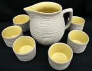Pigeon Forge Tennessee Art Pottery 7 pc Set Pitcher Cup Custards Ramekins Yellow