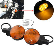 2x Amber Led Front Flat Turn Signal Light For Harley Touring Electra Glide Flstc