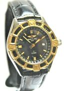 Breitling J Class Ladies D52064 18k Yellow Gold Leather Strap Watch