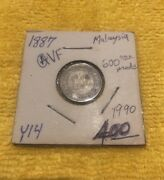 1887 Queen Victoria Straits Settlements 10 Cents Silver Coin 600000 Made